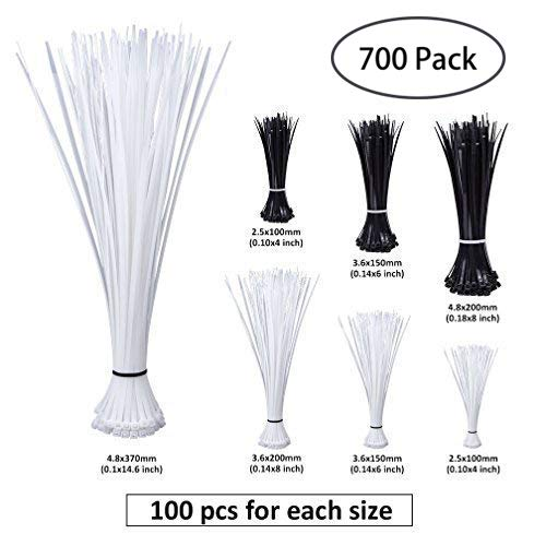 Heavy Duty Zip Ties in 4+6+8+14.6-inch, Self-Locking Nylon Cable Zip Ties Black & White (Combo Pack 700pcs) for Home/Office / Garage/Workshop by ipolex by ipolex