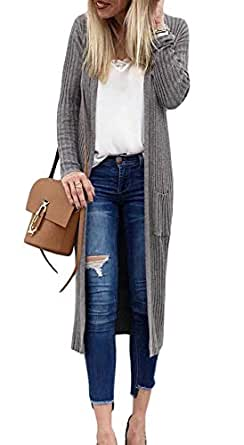 Zyyfly Long Sweater Cardigans for Women Plus Size Lightweight Knit Kimono with Pocket Grey S