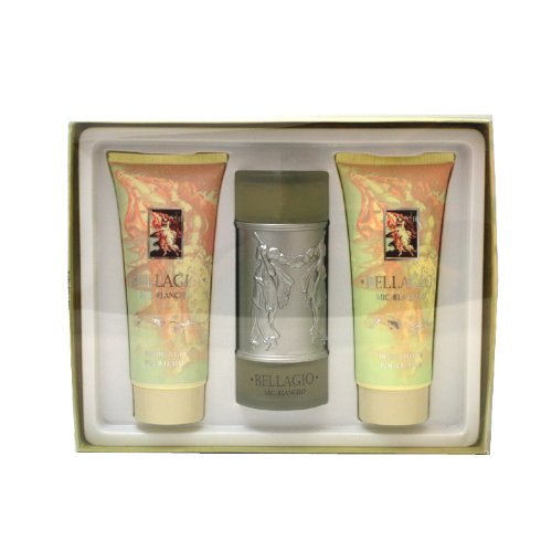 (Vapro International Bellagio Women Gift Set (Eau De Parfum Spray, Body Cream, Body Wash) )
