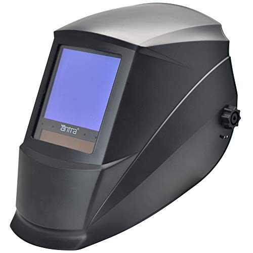 Antra AH7-860-0000 Auto Darkening Welding Helmet Huge Viewing Size 3.86X3.5″ Wide Shade Range 4/5-9/9-13 Great for TIG MIG/MAG MMA Plasma, Grinding, Solar-Lithium Dual Power, 6+1 Extra Lens Covers …