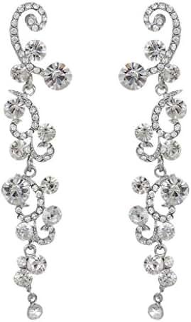 EVER FAITH Bridal Flower Wave Austrian Crystal Dangle Earrings