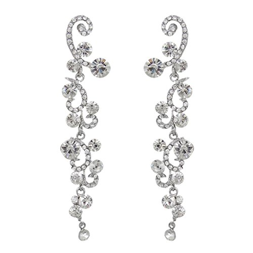 EVER FAITH Bridal Flower Wave Austrian Crystal Dangle Earrings Silver-Tone - (Clear Crystal Flower Earrings)