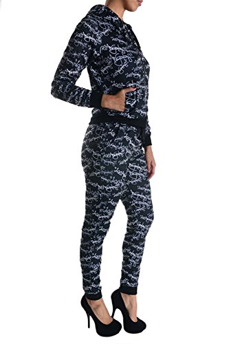 American Bazi Women's LA Graffiti Hoodie and Jogger Set AJS914 - BLACK - X-Large - H5B