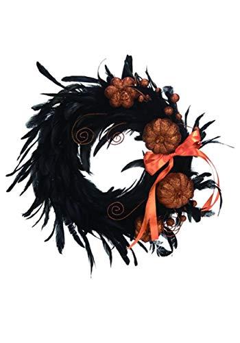 Transpac Black Feather Glitter Pumpkin Wreath 17