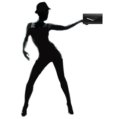 Evening Shoulder Elegant Bag Strap Envelop Long Ladies Metallic TA384 Clutch CASPAR Black with qgY1x