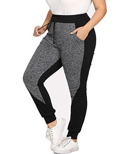 Romwe Women's Plus Size Elastic Waist Color Block Pocket Jogger Pants Black 4XL