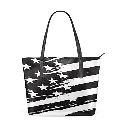 And Bags Handbag Muticolour For Means Coosun Black American Flag Leather White Pu Bag Women Tote Purse And qC5awg
