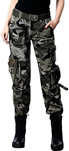 Chouyatou Women's Active Loose Fit Military Multi-Pockets Wild Cargo Pants