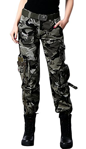 chouyatou Women's Active Loose Fit Military Multi-Pockets Wild Cargo Pants (Large, Camouflage)