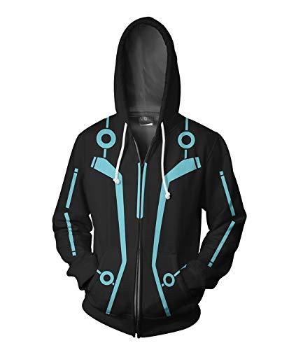 Newhui Tron Quorra Zip Up Black Cosplay Suit Legacy Sam Flynn Hoodie Hooded Coat Jacket