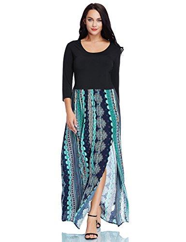 Line Scoop Neck - Luvamia Women's A Line Scoop Neck Ankle Length Leg Slit Split Bohemian Floral Print Evening Long Plus Size Maxi Dresses 3/4 Sleeve for Women Blue and Green Size 0X