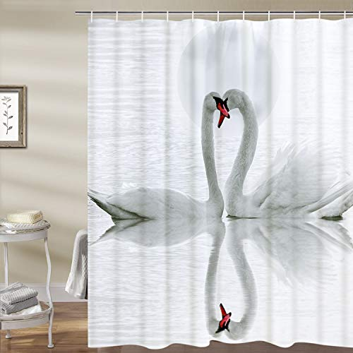 (Smurfs Yingda Swan in The Lake Shower Curtain White Swan Loves Bathroom Curtain Durable Waterproof with)