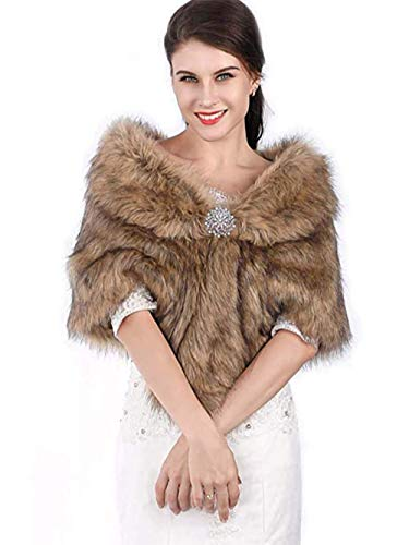 Chicer Bride Wedding Faux Fur Shawls and Wraps Bridal Fur Scarf Stoles for Women and Girls (Brown)