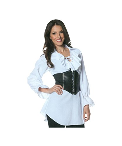 Pirate Costumes For Sale - Underwraps Women's Plus-Size Pirate Laced Front Blouse, White, XX-Large