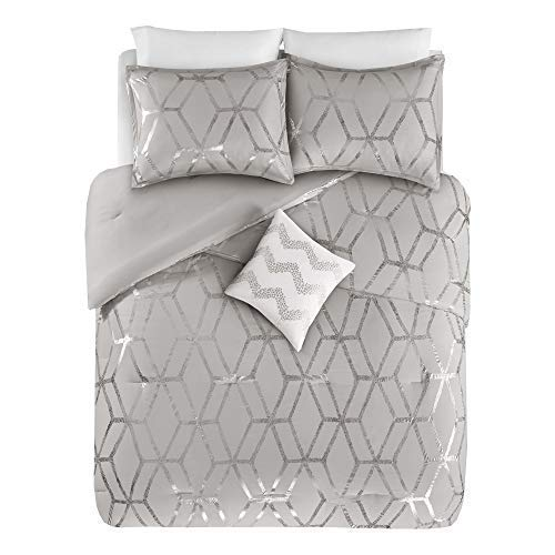 Comfort Spaces Ultra Soft 3 Pieces Twin/Twin XL Comforter Set - [Gray, Silver] - Metallic Brushed Microfiber and Goose Down Alternative Comforter for All Season