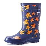 landchief Women's Rubber Rain Boots Printed Waterproof Women's Rain Footware, US11, Maple