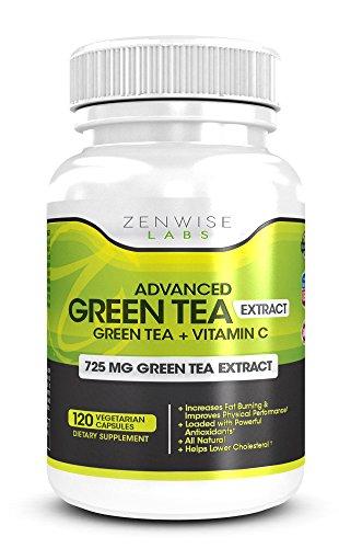 Supplément de l'extrait de thé vert - décaféiné & Pills Végétarien pour la perte de poids - Une Pure & puissant tout-naturel Supplément Fat Burner - 725 mg caféine gratuites Capsules Diet - paniers avec du thé vert, vitamine C et antioxydants - abaisse le