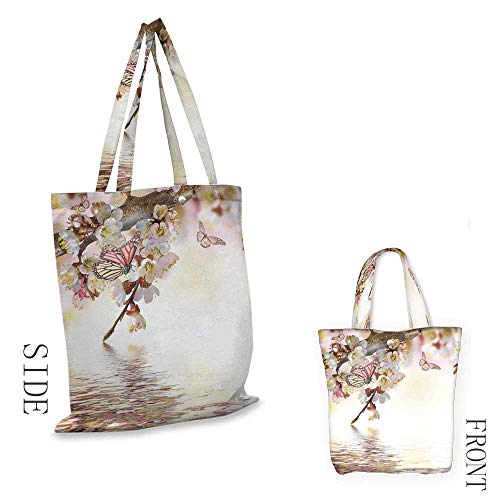 ModernCraft canvas shopping bagNatural Floral Japanese Style Garden Cherry Blossom Sakura Tree Butterfly NatureCan also be loaded with a laptop W15.75 x L13.78 Inch Pastel Pink Yellow (Partridge Shopping Family Bag)