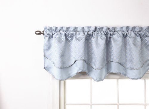 Stylemaster Renaissance Home Fashion Easton Layered Scalloped Valance with Cording, 54-Inch by 17-Inch, (Layered Scalloped Valance)