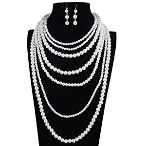 Jewelry Set for Women Exquisite Jewellery Gift Women Multi Layer Bead Statement Necklace Earrings Sets Gift For Wedding Party Earrings Necklace Set (Color : White, Size : Free size)