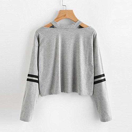 Camicette ABCone T Donna V Elegante Collo Camicie Autunno Tops Casual Felpa Pullover Maniche Grigio Shirt Lunghe CgPCX