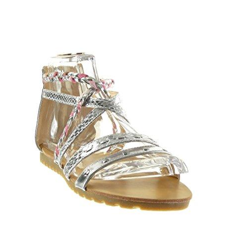 Multi Angkorly de Argent cm Femme Sexy Talon Tréssé Mode Serpent Peau Sandale Chaussure Bride 1 Plat 5 Spartiates Trw4Y1Azrq