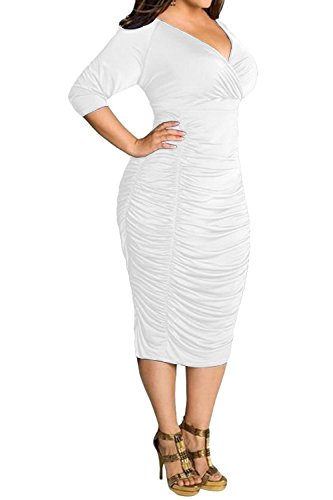 POSESHE Womens Plus Size Deep V Neck Wrap Ruched Waisted Bodycon Dress (XL, White)