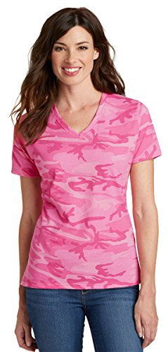 Port & Company LPC54VC Ladies V-Neck Camo Tee - Pink Camo - (Camo V-neck Tee)