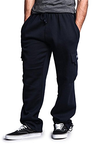 G-Style USA Men's Solid Fleece Cargo Pants DFP2 - NAVY - 5X-Large