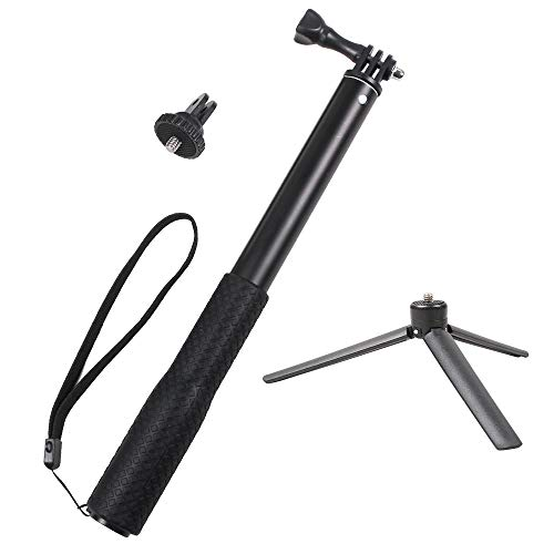 (SUREWO Aluminum Rubber Waterproof Selfie Stick,Extendable Handheld Monopod Adjustable Tripod Pole Compable Gopro Hero 7/(2018) 6/5/4 Black Hero 5/4 Session 4 Silver 3+ DJI Osmo Action and More )