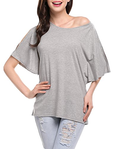 Meaneor Shoulder Batwing Casual Blouse product image