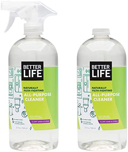 Better Life Natural All-Purpose Cleaner, Safe Around Kids & Pets, Clary Sage & Citrus, 32 Fl Oz (Pack of two)