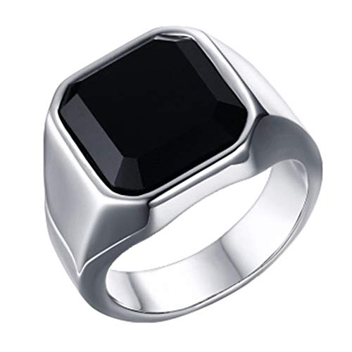 (SISIBER Square Black Onyx Stone Ring Stainless Steel Men Fashion Jewelry,11)