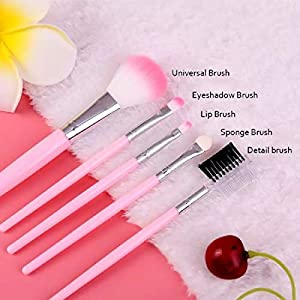 BOLDNYOUNG Makeup Brush Set 5 Sets Of Portable Blush Foundation Eye Shadow Eyebrow Brush