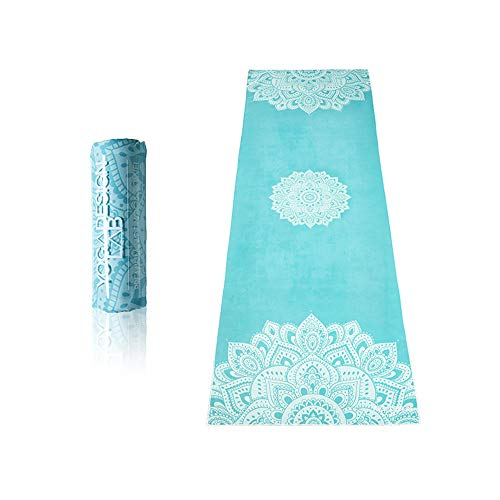 (The Mandala Turquoise Hot Yoga Towel. Eco-Friendly, Mat-Sized, Lightweight, Insanely Absorbent, Non-Slip, Microfiber Yoga Towel, Dries in Minutes.)