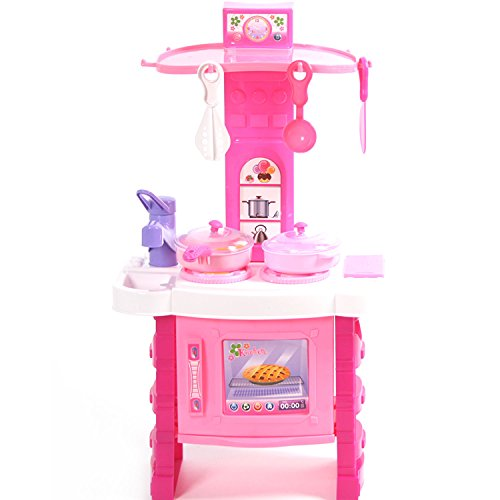 Kitchen Cooking Role Pretend Play Toy Cooker Set (Pink) - 2