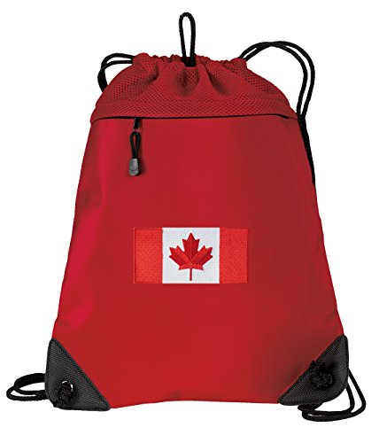 Canada Flag Drawstring Backpack Bag Canada Cinch Pack - UNIQUE MESH & MICROFIBER (Drawstring Bag Canada)