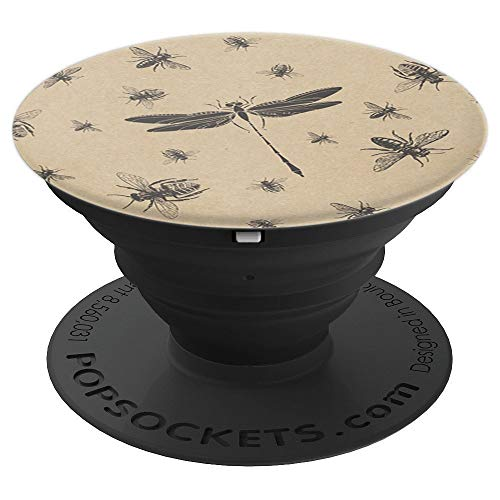 Bees And Dragonfly Vintage Antique Style Black Tan Brown - PopSockets Grip and Stand for Phones and Tablets