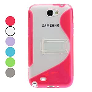 WEV S-Shape Soft TPU Case with Stand for Samsung Galaxy Note 2 N7100 (Assorted Colors) , Green