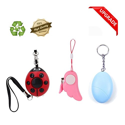 Personal Alarm Women, Self Defense Emergency Alarm Kids, 130DB Loud Safesound Keychain Alarm Protect Herself - 3 Pack by PRUGNA