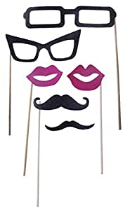 Party Photo Booth Props on a Stick - Glasses, Lips, Mustache - 6 Piece Kit - 6.5 - 7 inches