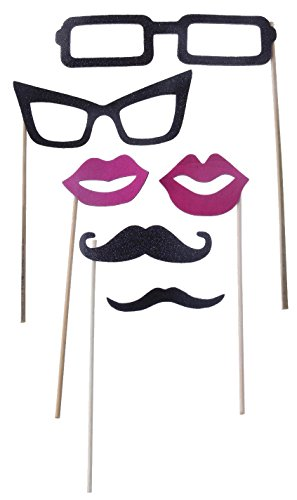 Party Photo Booth Props on a Stick - Glasses, Lips, Mustache - 6 Piece Kit - 6.5 - 7 - Stick On Glasses A