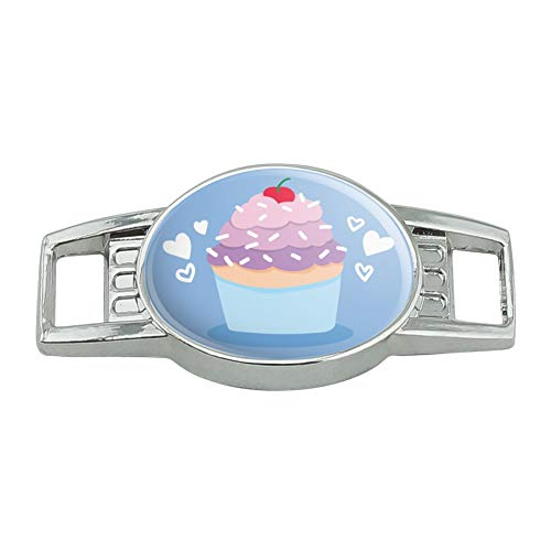 Cute Cupcake Vanilla Cherry with Sprinkles Shoe Shoelace Shoe Lace Tag Runner Gym Charm Decoration ()