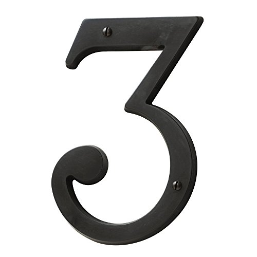 Baldwin Estate 90673.102.CD Solid Brass Traditional House Number Three in Oil Rubbed Bronze, 4.75