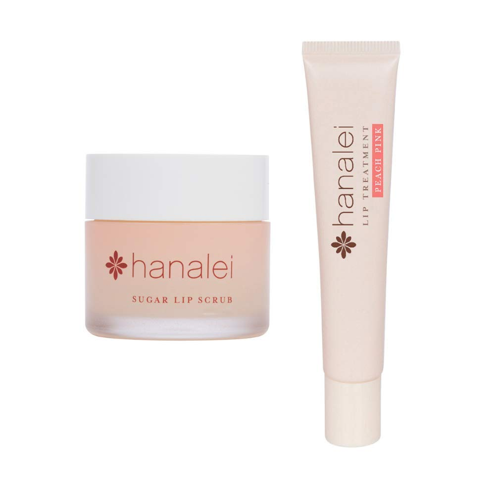 Hanalei Sugar Lip Scrub and Lip Treatment (Peach Pink) Bundle, Made with Raw Cane Sugar and Real Hawaiian Kukui Nut Oil (Cruelty free, Paraben free)