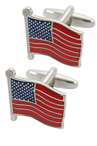 COLLAR AND CUFFS LONDON - Premium Cufflinks with Gift Box - Flag of The United States of America - The Stars and Stripes USA - Brass - Silver Blue and Red Colours
