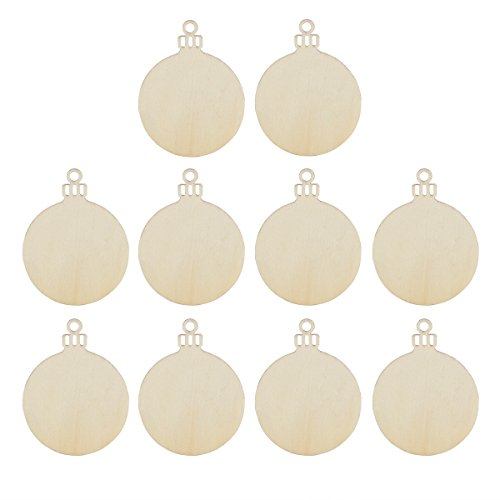 Tinksky Wooden Round Bauble Hanging Christmas Tree Blank Decorations Gift Tag Shapes for Wedding Valentine's Day gift DIY, Pack of 10