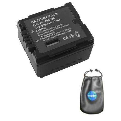 amsahr Digital Replacement Camera and Camcorder Battery for Panasonic VW: VBG130, TM10, TM200, TM700, AG-HMC70, VDR: D50, SD1-S, SD5, SD5GK, HDC: SD1, SD3, SD5EG-S - Includes Lens Accessories Pouch by Amsahr