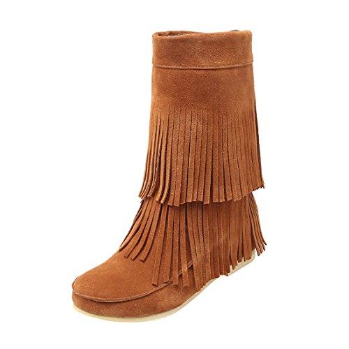 Uh Chaussures Femmes Bottines Indiennes Avec Frange À Talons Compensees Plateforme Bout Rond Et Fouffures Douce Chaud Marron