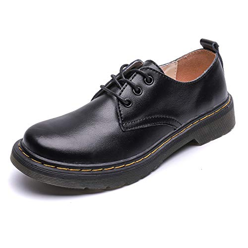 Resonda Womens Leather Shoes Flat Lace Up Oxfords Derby Shoes for Girls ladis,Black,Women us5.5=230mm